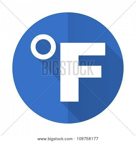fahrenheit blue web flat design icon on white background