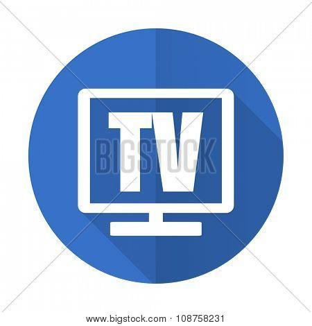 tv blue web flat design icon on white background