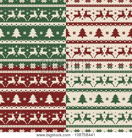 Set of Christmas and New year seamless patterns