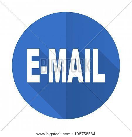 email blue web flat design icon on white background