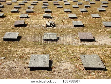 Birdseye Of Headstones At Ancient Moravian Graveyard