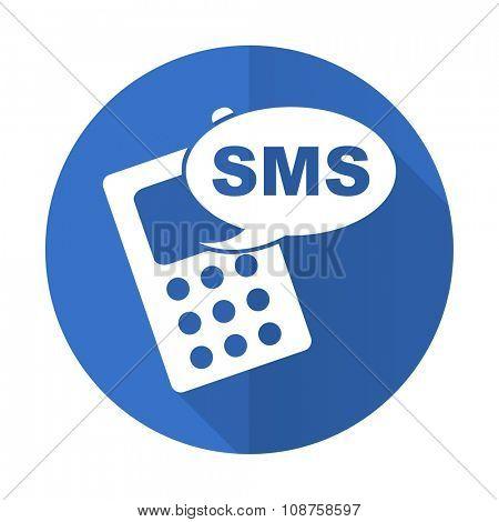 sms blue web flat design icon on white background