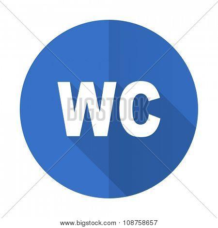 toilet blue web flat design icon on white background