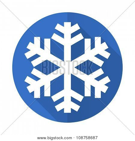 snow blue web flat design icon on white background
