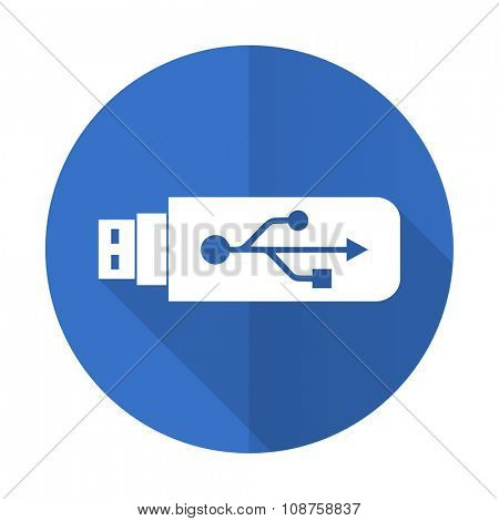 usb blue web flat design icon on white background
