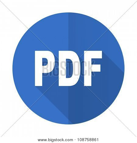 pdf blue web flat design icon on white background