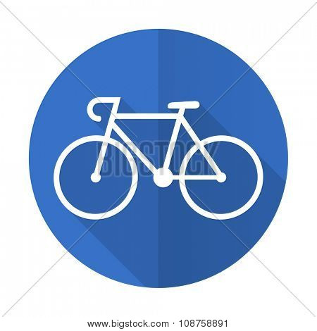 bicycle blue web flat design icon on white background