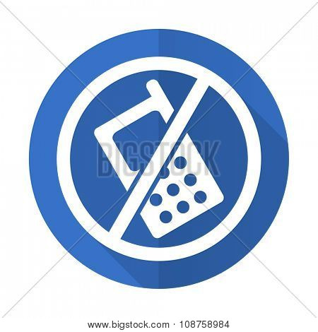 no phone blue web flat design icon on white background