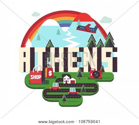 Athens in greece is Beautiful city to visit on holiday, vector cartoon illustration