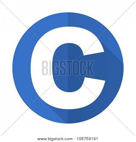 copyright blue web flat design icon on white background