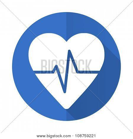 pulse blue web flat design icon on white background