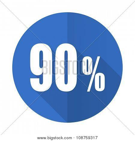 90 percent blue web flat design icon on white background