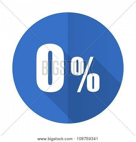 0 percent blue web flat design icon on white background