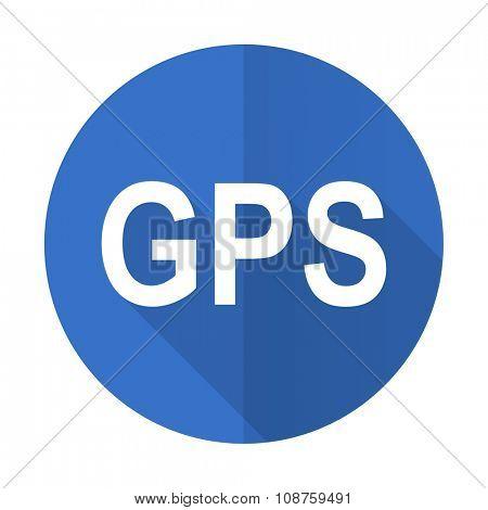 gps blue web flat design icon on white background