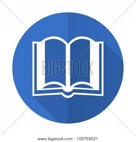 book blue web flat design icon on white background