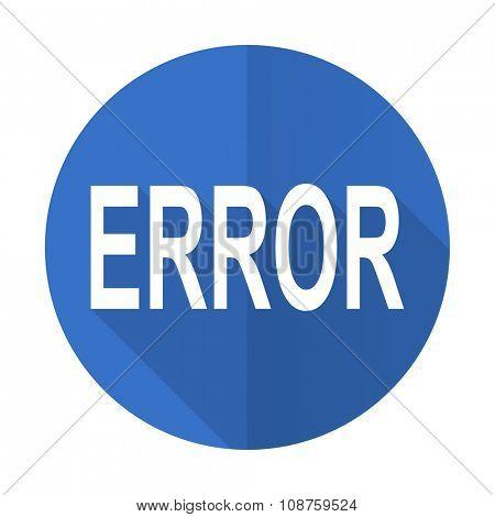 error blue web flat design icon on white background
