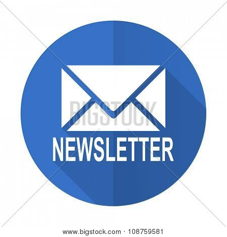 newsletter blue web flat design icon on white background