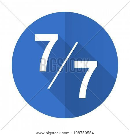 7 per 7 blue web flat design icon on white background