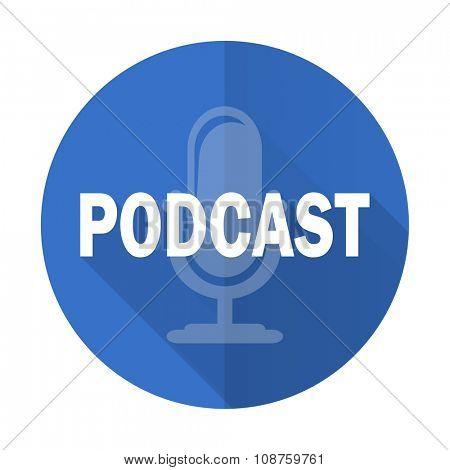 podcast blue web flat design icon on white background