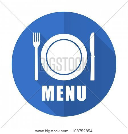 menu blue web flat design icon on white background