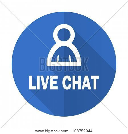 live chat blue web flat design icon on white background