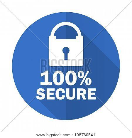 secure blue web flat design icon on white background