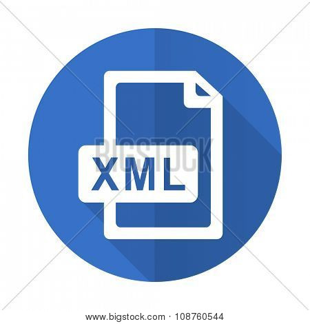 xml file blue web flat design icon on white background