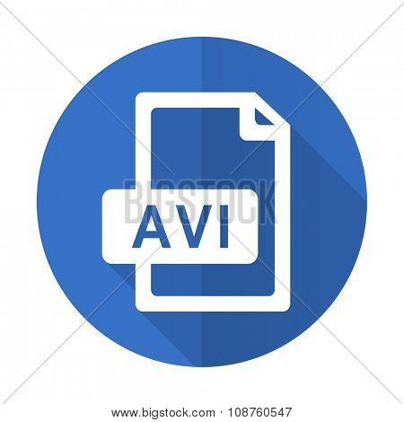 avi file blue web flat design icon on white background