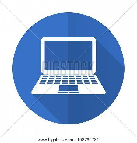 computer blue web flat design icon on white background