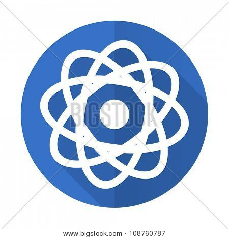 atom blue web flat design icon on white background