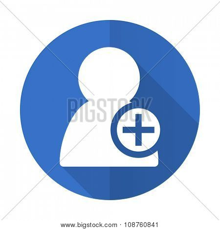 add contact blue web flat design icon on white background
