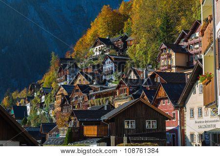 Buildings In Hallstatt In Teh Autumn