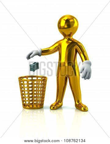 Golden Man Throwing Garbage In A Trash Can