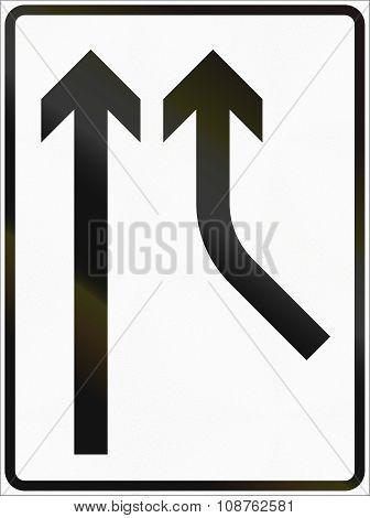 Norwegian Lane Information Road Sign - Added Lane