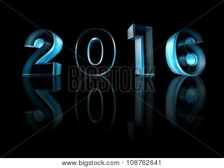 Isolate Of Icy Blue Numbers For New Year On The Black Background