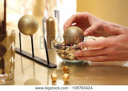 Decorating baubles, handmade