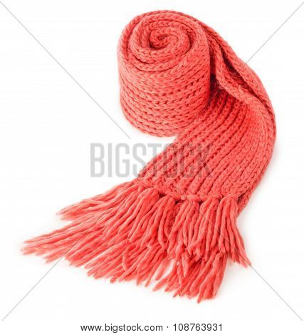 Rolled Red Textile Scarf Isolated