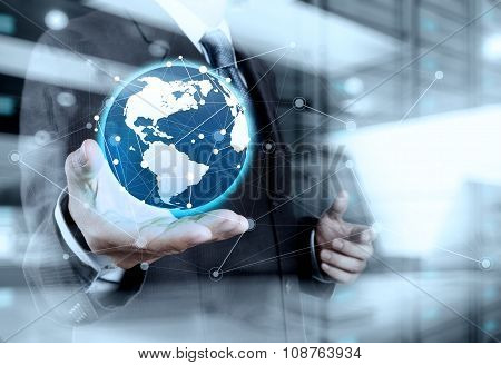 Double Exposure Of Businessman Working With New Modern Computer Show Social Network Structure And Bo