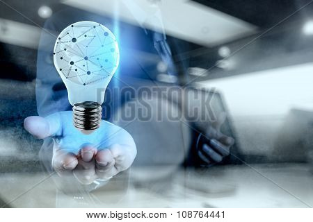 Double Exposure Of Businessman Working With New Modern Computer Show Ligh Bulb With Social Network S