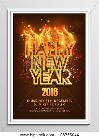 Creative 3D text Happy New Year in fire on fireworks decorated background, can be used as Flyer, Banner or Pamphlet design.