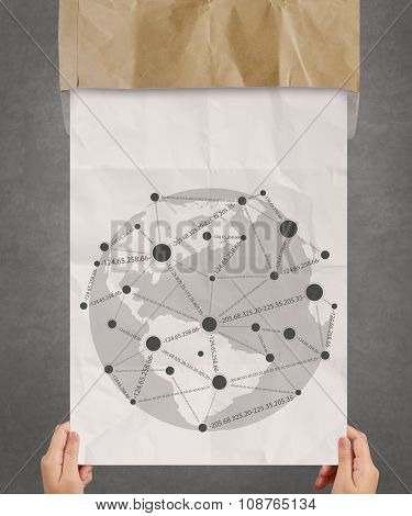 Hand Showing Social Media Icon On Crumpled Paper As Concept