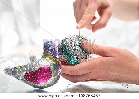 Beautiful Christmas decorations, sequined Christmas ornaments