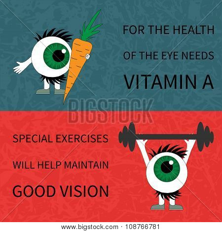 Healthy eyes. Products and sport.