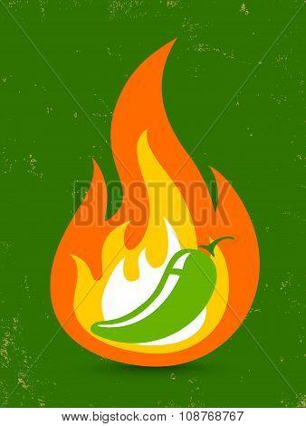 jalapeno pepper in fire