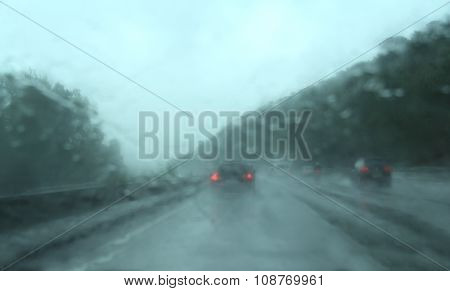 Traffic in the motorway in a rainy day