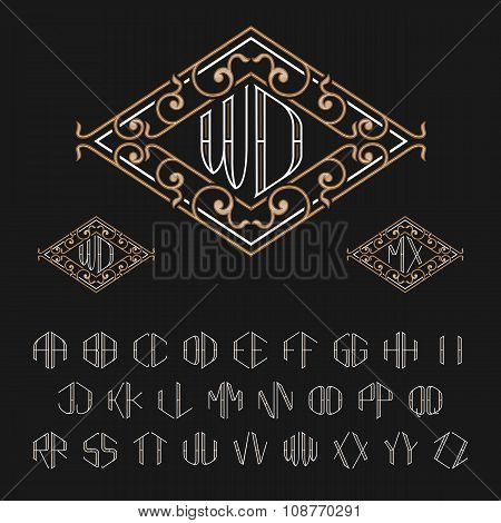 Two letters monogram template. Set of letters from A to Z.