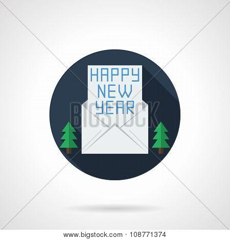 Happy New Year wishes round flat vector icon