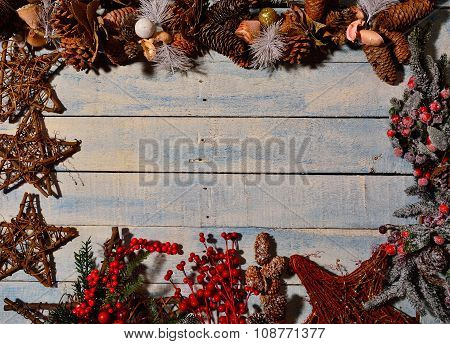 Christmas Decorations And Wooden Table.