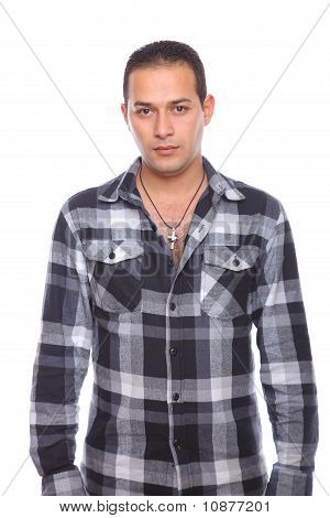 Man Wearing Checked Shirt