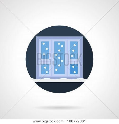 Winter weather round flat vector icon